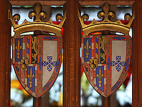 Armorial shields of Isabella of Portugal, 1428-96, with lions, towers and fleur de lys, decorative detail from the Salle des Povres or Room of the Poor of Les Hospices de Beaune, or Hotel-Dieu de Beaune, a charitable almshouse and hospital for the poor, built 1443-57 by Flemish architect Jacques Wiscrer, and founded by Nicolas Rolin, chancellor of Burgundy, and his wife Guigone de Salins, in Beaune, Cote d'Or, Burgundy, France. The hospital was run by the nuns of the order of Les Soeurs Hospitalieres de Beaune, and remained a hospital until the 1970s. The building now houses the Musee de l'Histoire de la Medecine, or Museum of the History of Medicine, and is listed as a historic monument. Picture by Manuel Cohen