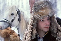 "On the shooting of ""Serko"", a film reenacting the longest horse-ride ever done in the history of man, : 9000 Km in 200 days from the Amur River to St Petersburg, by a Cossack named Dimitri Petchkov and his horse Serko  in the winter of 1890. Siberia, Irkutsk District, Lake Baikal region, March 2005. Director: Joel Farges. Adaptation from the book by Jean-Louis Gouraud: Serko..Dimitri Petchkov (Actor: Alexei) and horse Serko."