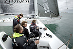 Onboard of the Hydroptere, sailing in the Solent, Cowes, Isle of Wight, United Kingdom..Now the fastest sailing boat in the world with an average speed of 51.36 knots over 500 meters and 50.17 knots over one nautical mile, the flying trimaran is currently heading to the open sea.