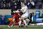 13 December 2013: New Mexico's Nicholas Rochowski (left) and Notre Dame's Connor Klekota (right). The University of Notre Dame Fighting Irish played the University of New Mexico Lobos at PPL Park in Chester, Pennsylvania in a 2013 NCAA Division I Men's College Cup semifinal match. Notre Dame won the game 2-0.