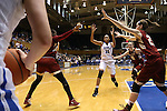 17 January 2016: Duke's Azura Stevens (11) waits for a throw-in. The Duke University Blue Devils hosted the Boston College Eagles at Cameron Indoor Stadium in Durham, North Carolina in a 2015-16 NCAA Division I Women's Basketball game. Duke won the game 71-51.