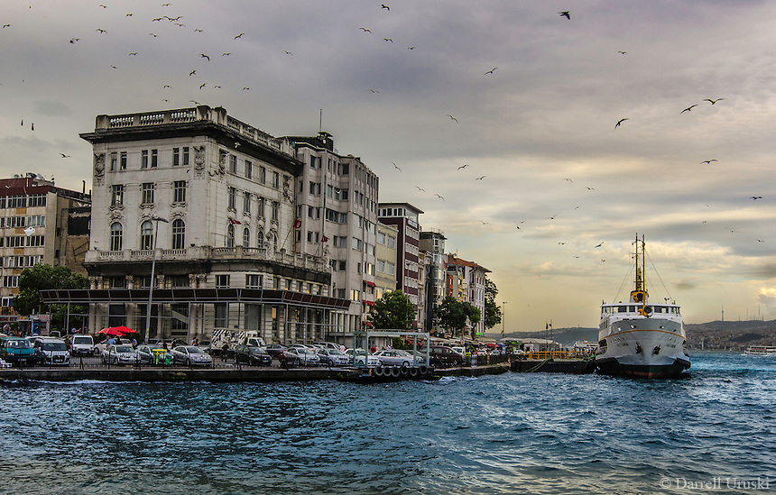 fine art landscape photograph of the bosphorus strait in istanbul turkey the dramatic lighting breaking lighting set