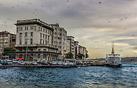 Fine Art Photograph of the Bosphorus Strait in Istanbul, Turkey. The dramatic lighting on the buildings with the birds flying overhead against the backdrop of the breaking clouds set the mood for this artistic photograph.