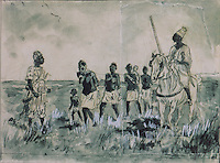 Procession of female slaves, sketch by Alfonse Levy, 1843-1918, 19th century, in the Musee d'Aquitaine, Cours Pasteur, Bordeaux, Aquitaine, France. Picture by Manuel Cohen