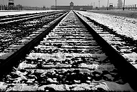Auschwitz / Poland 2011.Railroad tracks lead to the entrance gate at Birkenau, part of Auschwitz-Birkenau, the largest Nazi concentration camp and extermination camp in operation during World War II. An estimated 1,000,000 to 2,500,000 prisoners died while held at the camp..Photo Livio Senigalliesi
