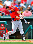3 March 2011: Washington Nationals' catcher Wilson Ramos connects during a Spring Training game against the St. Louis Cardinals at Roger Dean Stadium in Jupiter, Florida. The Cardinals defeated the Nationals 7-5 in Grapefruit League action. Mandatory Credit: Ed Wolfstein Photo