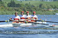 Hamilton, NEW ZEALAND. CAN LM4-, Timothy MYERS, Morgan JARVIS, Terence McKALL and Mike LEWIS, at the start of the men's lightweight fours. 2010 World Rowing Championship on Lake Karapiro Monday 01.11.2010. [Mandatory Credit Peter Spurrier:Intersport Images].