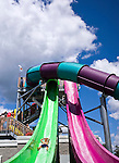 Middlebury, CT- 09 August 2015-080915CM05- Elijah Pennucci 8, of Kent, slides down the Speed Slide at Lake Quassapaug Amusement Park in Middlebury on Sunday.  The park was crowded, with folks taking advantage of the warm weather by swimming in the lake and visiting the Splash Away Water Park.       Christopher Massa Republican-American