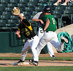Rock Island Aleman baserunner beats out the throw in the 2012 state finals in Peoria.