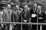 14 Aug 1969, Manhattan, New York City, New York State, USA --- L-R: Astronauts Michael Collins, Neil Armstrong and Buzz Aldrin with their medals alongside the Mayor of NYC, J. Lindsay and Thomas Paine, NASA administrator, after a parade that started from Grand Central Station. August 14, 1969 --- Image by © JP Laffont/Sygma/CORBIS