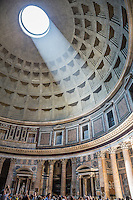 The Pantheon is an ancient Roman temple for all the Roman Gods and is still in great condition. The dome is unreinforced concrete.  The occulus is open to the atmosphere and illuminates the interior. (Image by Travel Photographer Matt Considine)