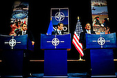 United States Secretary of Defense Leon Panetta, right, announces a new strategic initiative with NATO Secretary General Anders Fogh Rasmussen, center, and President Jose Zapatero of Spain, left, involving the basing of U.S. Navy Aegis destroyers at Rota, Spain, during a press conference at NATO headquarters in Brussels, Belgium, October 5, 2011. .Mandatory Credit: Jacob N. Bailey / USAF via CNP