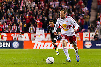 Joel Lindpere (20) of the New York Red Bulls. D. C. United defeated the New York Red Bulls 1-0 (2-1 in aggregate) during the second leg of the MLS Eastern Conference Semifinals at Red Bull Arena in Harrison, NJ, on November 8, 2012.