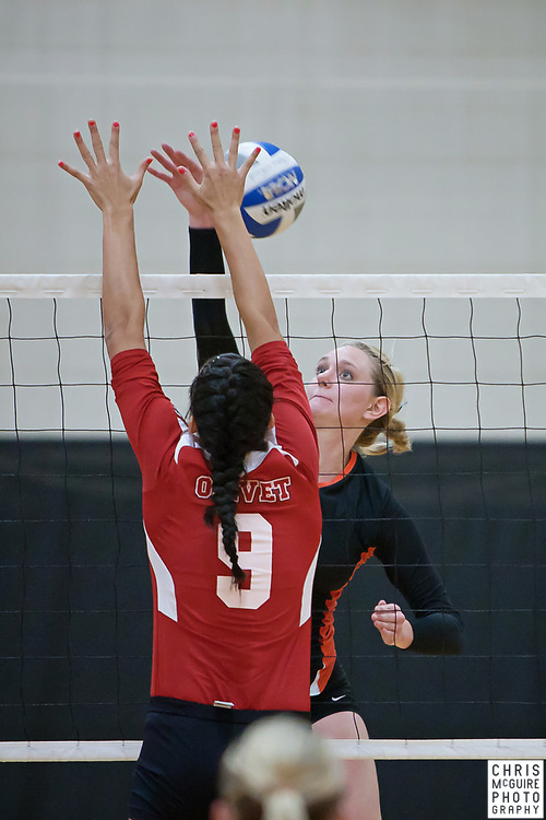 09/14/11 - Kalamazoo, MI: Kalamazoo College volleyball vs Olivet College.  Kalamazoo won 3-0 (25-13, 25-13, 25-18).  Photo by Chris McGuire.