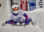 8 January 2016: Anne O'Shea, competing for the United States of America, completes her second run of the BMW IBSF World Cup Skeleton race with a combined 2-run time of 1:50.34, earning her the gold medal at the Olympic Sports Track in Lake Placid, New York, USA. Mandatory Credit: Ed Wolfstein Photo *** RAW (NEF) Image File Available ***