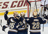 The Irish celebrate a goal. - The visiting University of Notre Dame Fighting Irish defeated the Boston College Eagles 7-2 on Friday, March 14, 2014, in the first game of their Hockey East quarterfinals matchup at Kelley Rink in Conte Forum in Chestnut Hill, Massachusetts.
