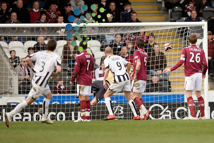 Graham Carey (On loan from Celtic) scores from free kick to make it 1.0 Saints during The Clydesdale Bank Premier League match between St Mirren and Hearts at St Mirren park Paisley 03/04/10..Picture by Ricky Rae/universal News & Sport (Scotland).