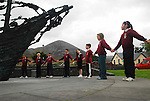 Pupils from St Augustine's National School in Murrisk, Co Mayo holding a minutes silence at the National Famine Monument as part of the events leading to the National Famine Commemoration that will take place in Murrisk on sunday...Photo Conor McKeown