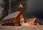 Idaho, Northern, Kootenai County, Coeur d'Alene. Fort Sherman Chapel on the grounds of the historic Fort Sherman in downtown Coeur d'Alene in winter.