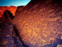 San or Bushman, petroglyphs  Twyfelfontein Mountains, Namibia, Africa  Twyfelfontein National Monument  Ancient Rock Art  February