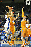 UK junior guard Kastine Evans shooting the ball while Tennessee sophomore forward Cierra Burdick attempts to block it during the second half of the women's basketball game vs. Tennessee at Memorial Coliseum on Sunday, March 3, 2013, in Lexington, Ky. Photo by Kalyn Bradford | Staff