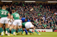 Ireland supporters in the crowd celebrate their team's performance. Rugby World Cup Pool D match between France and Ireland on October 11, 2015 at the Millennium Stadium in Cardiff, Wales. Photo by: Patrick Khachfe / Onside Images
