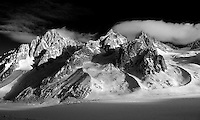 Aiguille du Chardonnet (left), Aiguille D'Argentiere (center), Glacier des Amethystes (right), Glacier D'Argentiere (bottom)