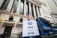 A large truck in front of the New York Stock Exchange on Wednesday, November 9, 2016, the day after Election Day and Donald Trump's win over Hillary Clinton celebrates Dana Incorporated's ringing of the opening bell. Dana Inc. supplies drivetrain, sealing and thermal management technologies, made in the U.S.A. and sold worldwide.  (© Richard B. Levine)