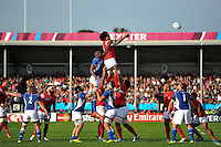 Hale T Pole of Tonga rises high to win lineout ball. Rugby World Cup Pool C match between Tonga and Namibia on September 29, 2015 at Sandy Park in Exeter, England. Photo by: Patrick Khachfe / Onside Images