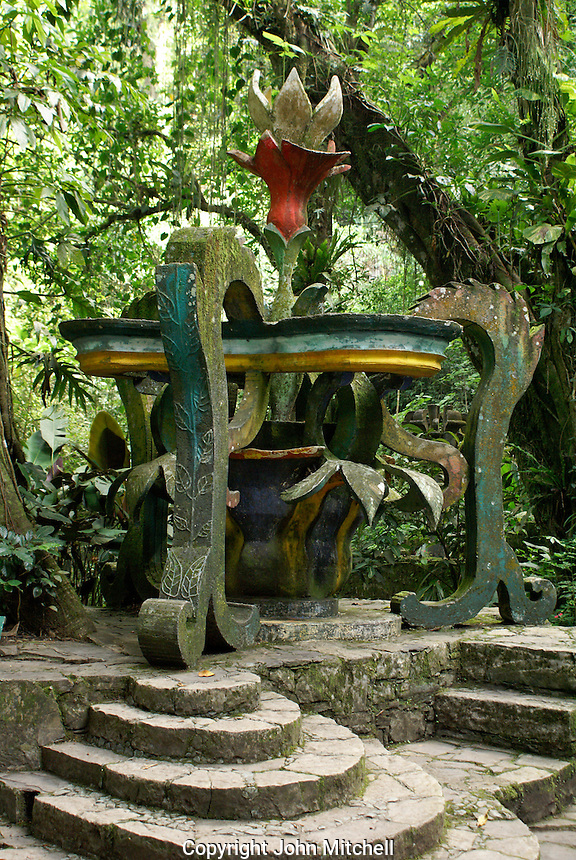 Floral scuplture in Plaza San Isidro at Las Pozas, the surrealistic sculpture garden created by Edward James near Xilitla, Mexico