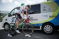 Daryl Impey (ZAF/Orica-BikeExchange) warming down after finishing his ITT<br /> <br /> Stage 18 (ITT) - Sallanches &rsaquo; Meg&egrave;ve (17km)<br /> 103rd Tour de France 2016