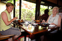 Belgium tourist Nadine Martens (left) with friend eating lunch in at Ishii Miso, Matsumoto, Japan, May 19, 2009. The miso company, founded in 1868, uses Japanese soy beans and wooden barrels to make premium miso aged for up to three years.