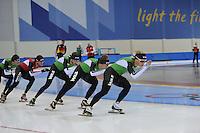 SCHAATSEN: SALT LAKE CITY: Utah Olympic Oval, 12-11-2013, Essent ISU World Cup, training, Sven Kramer, Konrad Niedzwiedzki, Christijn Groeneveld, Douwe de Vries, Koen Verweij, ©foto Martin de Jong