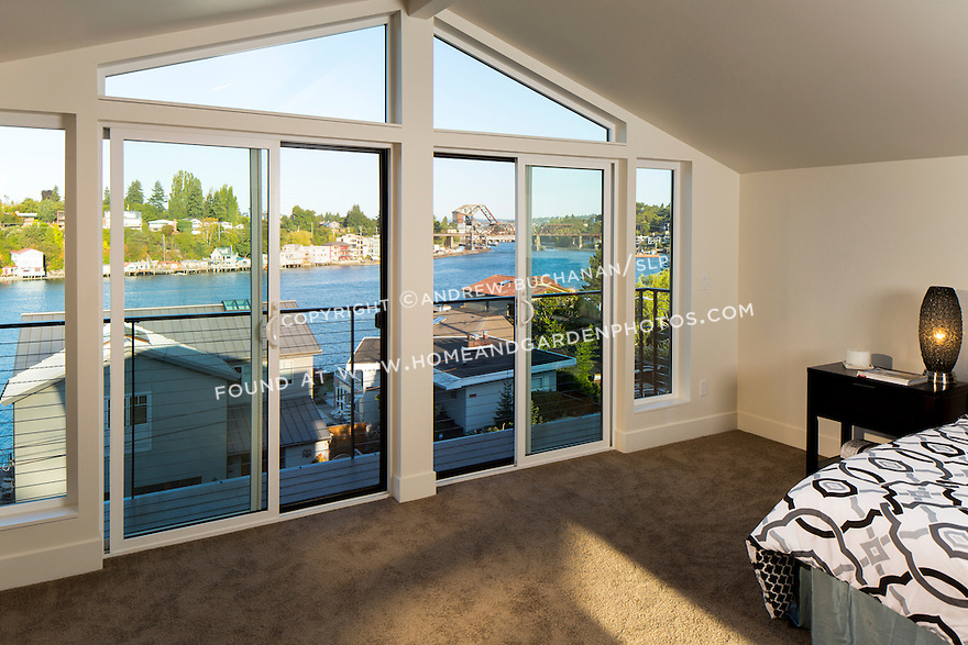 Sliding doors with a view from the master bedroom. This image is available through an alternate architectural stock image agency, Collinstock located here: http://www.collinstock.com