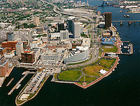 1988 April 27..Redevelopment.Downtown South (R-9)..Aerial view Downtown Norfolk & Dominion Tower .Towne Point Park.Looking East..Jack Will - Advertising Visuals.NEG# 8126-5.NRHA#..
