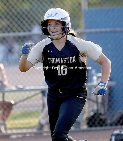 West Haven, CT- 10 June 2015-061015CM08-  Action man--- Thomaston's Alexa Milius comes in for a run against Hale Ray during their Class S semi-final matchup in West Haven on Wednesday.  Thomaston won, 14-4 advancing to Class S state finals.    Christopher Massa Republican-American