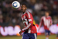 Chivas USA defender Michael Lahoud (11) ball watching. Chivas USA and Columbus Crew played to a 0-0 tie at Home Depot Center stadium in Carson, California on  April  9, 2011....