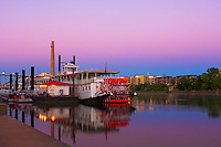 Paddle boat Jonathan Padelford docked at Harriet Island in St. Paul, Minnesota at dawn.