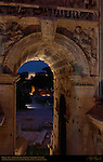 Arch of Septimius Severus 203 AD Lateral Arch at Night Arch of Titus Background Capitoline Side Forum Romanum Rome