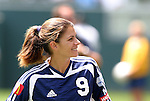27 June 2004: Mia Hamm smiles. The San Diego Spirit defeated the Carolina Courage 2-1 at the Home Depot Center in Carson, CA in Womens United Soccer Association soccer game featuring guest players from other teams.