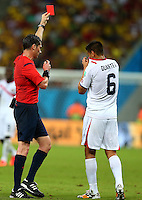 Oscar Duarte of Costa Rica is shown a red card by referee Benjamin Williams and is sent off