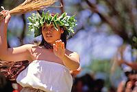 EDITORIAL ONLY. Hula dancer at Ka Hula Piko Festival on Molokai