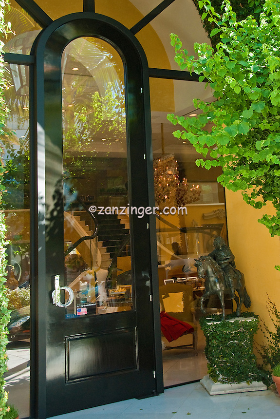 Beverly Hills, California, Rodeo Drive, Luxury Shopping, reflections in store windows , Vertical image