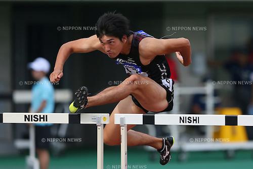 Masayuki Iida, <br /> SEPTEMBER 22, 2013 - Athletics : <br /> The 61st All Japan Industrial Athletics Championship <br /> Men's 110mH <br /> at Kumagaya Sports Culture Park Athletics Stadium, Saitama, Japan. <br /> (Photo by YUTAKA/AFLO SPORT) [1040]
