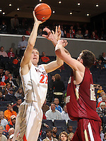 Feb. 26, 2011; Charlottesville, VA, USA; Virginia Cavaliers forward Will Sherrill (22) shoots the ball over Boston College Eagles forward Joe Trapani (12) during the game at the John Paul Jones Arena. The Boston College Eagles won 63-44. (Credit Image: © Andrew Shurtleff/ZUMApress.com)