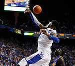 UK forward Nerlens Noel swats a shot during the first half of the men's basketball game vs. LSU at Rupp Arena, in Lexington, Ky., on Saturday, January 26, 2013. Photo by Genevieve Adams  | Staff.