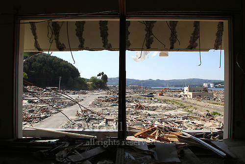 May 18, 2011; Minamisanriku, Miyagi Pref., Japan - View towards the ocean from inside the third floor of an apartment complex in Minamisanriku after the magnitude 9.0 Great East Japan Earthquake and Tsunami that devastated the Tohoku region of Japan on March 11, 2011.