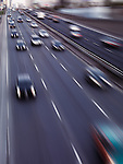 Dynamic photo of highway traffic in motion. Toronto Gardiner Expressway. Ontario, Canada.