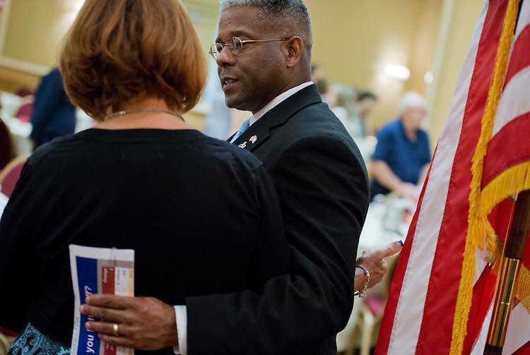 UNITED STATES - AUGUST 23:  Rep. Allen West, R-Fla., of Florida's 18th District, talks with a supporter during a meeting of the Independent Insurance Agents of Palm Beach County, in West Palm Beach, Fla.  West is running against democrat Patrick Murphy.  (Photo By Tom Williams/CQ Roll Call)