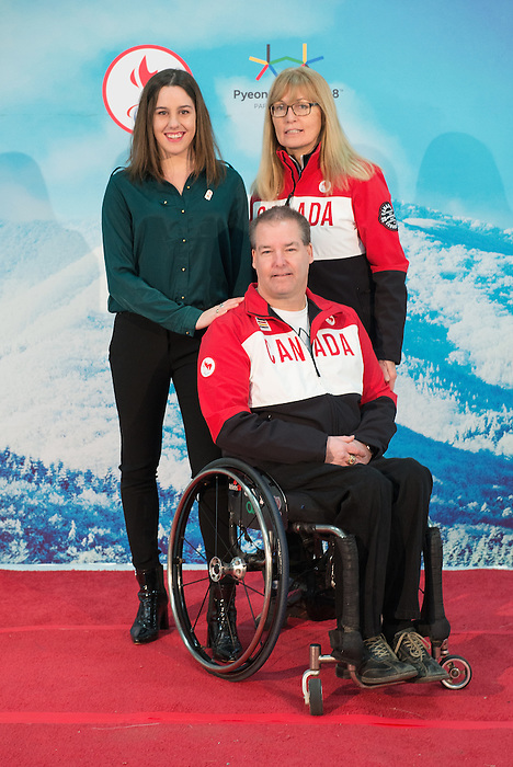 Ottawa, ON - January 24 2017 - Aurélie Rivard, Karen O'Neill as Todd Nicholson is announced as the Team Canada Chef de Mission for the 2018 Paralympic Winter Games in Pyeongchang, South Korea at the Jim Durrell Recreation Complex in Ottawa, Ontario, Canada (Photo: Matthew Murnaghan/Canadian Paralympic Committee)
